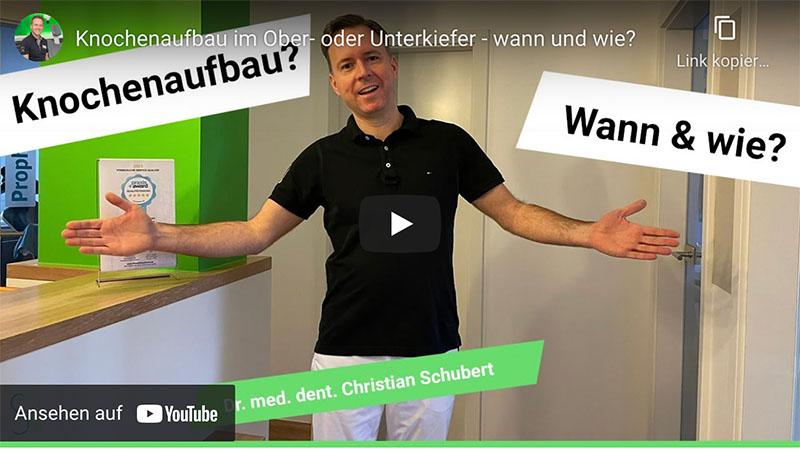 """Das Vorschaubild des Youtube-Videos """"Knochenaufbau wann und wie?"""" der Zahnarztpraxis Dr. Christian Schubert in Beeskow"""
